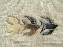 画像1: 水牛角パーツ かもめ羽上に1コ穴