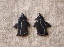 画像1: 水牛角パーツ ペンギンチャーム