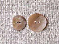 画像1: シェルボタン 茶蝶貝 丸