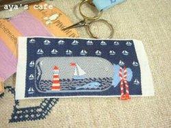 画像1: KAFKA ヨットと灯台 ラベル ネイビー
