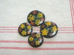 画像1: アンティークボタン 黒/黄色と赤のお花